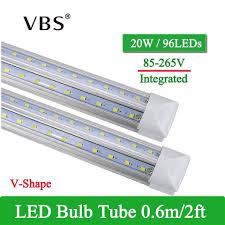 2ft Fluorescent Light 1 Pcs V Shape Integrated Led Tube Lamp 20w T8 600mm 2ft Led Bulbs 96leds Super Bright Led Fluorescent Light Bombillas Led 2000lm