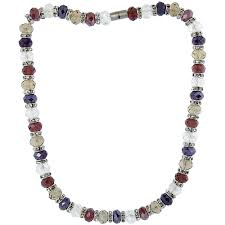 multi color faceted glass crystal necklace on elastic nylon strand clear