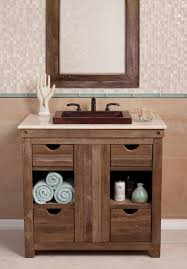 Exellent Rustic Bathroom Vanities 36 Inch Single Sink Bath Vanity In Chardonnay Throughout Simple Design