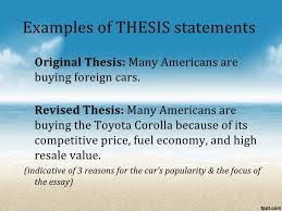 the process essay 9 examples of thesis statements