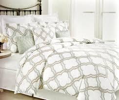 com max studio duvet quilt cover 3 piece set geometric quatrefoil lattice trellis design full queen size beige aqua green home kitchen