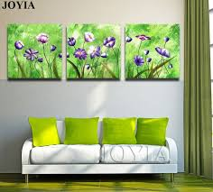 3 piece triple paintings set abstract floral wall art printed canvas green color art picture for on canvas floral wall art with 3 piece triple paintings set abstract floral wall art printed canvas