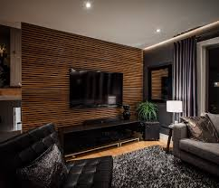 modern wood panel accent wall