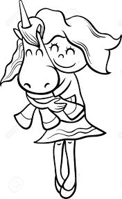 塗り絵のグッズ ユニコーンとかわいい女の子の黒と白の漫画イラスト