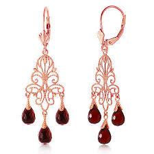 3 75 carat 14k solid rose gold chandelier earrings natural garnet
