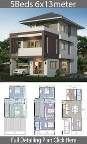 Home design plan 6x13m with 5 bedrooms | สถาปัตยกรรมสมัยใหม่, ออกแบบบ้าน,  บ้านโมเดิร์น