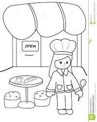 Restaurant Coloring Page Hand Drawn Coloring Page Of A Chef At Her Restaurant Stock