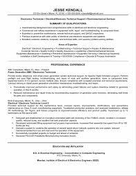 Sample Resume Engineering Technician Luxury Electronics Technician