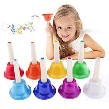 By pushing the button located at the top of the handle the bell will ring. Alnicov Music Hand Bell Rhythm Band Kids Play Hand Bells 8 Sound 8 Color Musical Bell For Kids Senior Teacher Desk Bell Metal Hand Bells Set One Set Of 8 Notes Buy