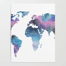 World Map Posters Galaxy World Map Poster By Ccartstudio