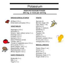 Low Potassium Foods List Chart High Potassium Food List Printable In 2019 High Potassium
