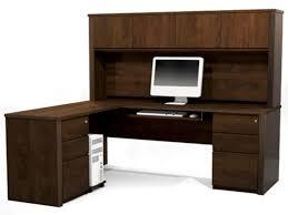 simple desks for home office. LShaped Desk With Hutch Home Office Simple L Shaped Dark Brown Corner Computer Desks For