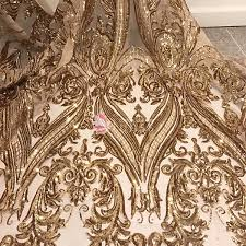 Abstract Pattern Enchanting Gold Sparkling Abstract Pattern Stretch Mesh Sequin Lace Fabric By