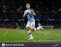 Manchester City's Phil Foden celebrates scoring his side's second goal of  the game during the UEFA Champions League match at the Etihad Stadium,  Manchester Stock Photo - Alamy