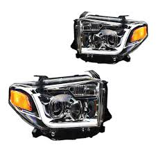 Tundra Projector Headlight Chrome With LED Daytime Running Lights ...