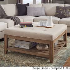 Lennon Pine Planked Storage Ottoman Coffee Table by iNSPIRE Q Artisan  ([Beige Linen]- Dimpled Tufts) (Fabric)