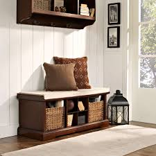 Corner Cubby Bench Coat Rack Brown Wooden Freestanding Cushioned Entry Storage Bench And Wall 51