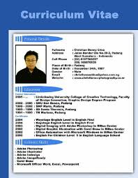 English Curriculum Vitae Contoh Cv Resume Daftar Riwayat Hidup Job Application