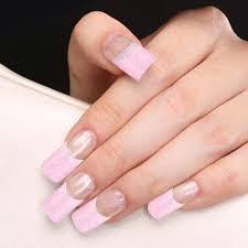 YaoShun 70 PCS Half Nail Tips French Manicure Pink Glitter design ...