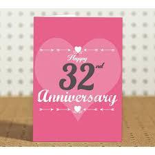 32nd marriage anniversary gift printed coffee mug with greeting card