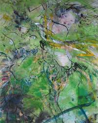 Earthstone Chu Art 阿棟藝術- Green Melody, rice paper painting, 137x70cm |  Facebook