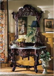foyer console table and mirror. Hand-carved Solid Mahogany Antique Replica Hapsburg Mirror Topped Console Table Foyer And E