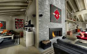 ski chalet furniture. Contemporary Fireplace, Stone Tiled Wall, Art, Ski Chalet In Courchevel 1850, France Furniture
