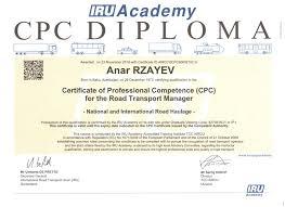 unec Преподаватель unec получил престижный международный диплом  государственного экономического университета unec Анар Рзаев получил диплом менеджера по международным и транспортным перевозкам внутри страны cpc