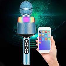 Q008 kablosuz Bluetooth mikrofon ile yanıp sönen ışıklar taşınabilir  tutamak mikrofon hoparlör cep telefonu için şarkı müzik uygulamaları  sipariş ~ indirim