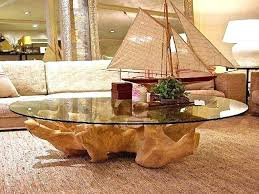 tree trunk coffee table with glass top stump base uk