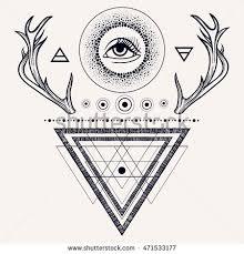 navajo tattoo designs. Blackwork Tattoo Flash. Dreamcatcher With Third Eye, Feathers And Deer Antlers. Vector. Navajo Designs