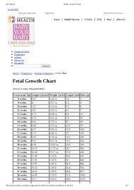 Baby Fetal Growth Chart Week By Week Pdf Format E