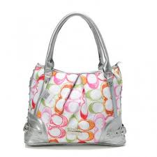 Coach Poppy In Signature Medium Silver Totes AEI