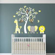 jungle decal yellow and grey nursery decor feat cheeky monkey a giraffe a baby elephant a white tree mural gender neutral wall stickers pinterest  on safari themed nursery wall art with jungle decal yellow and grey nursery decor feat cheeky monkey a