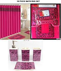 black and pink bathroom accessories. 19 Piece Bath Accessory Set Pink Zebra Bathroom Rugs \u0026 Shower Curtain Accessories Black And