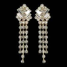 gold crystal dangle clip on bridal earrings e 20009