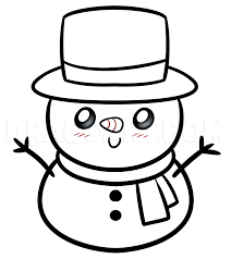 These guide lines will help you draw the snowman's face. Drawing A Kawaii Frosty The Snowman Step By Step Drawing Guide By Dawn Dragoart Com