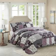 CHAUSUB Purple Printed QUILT Set 3PCS Cotton Quilts Quilted ... & CHAUSUB Purple Printed QUILT Set 3PCS Cotton Quilts Quilted Bedspread Bed  Cover Sheets Pillowcase Coverlet King Sofa Blanket-in Quilts from Home &  Garden on ... Adamdwight.com