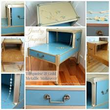 painted furniture makeover gold metallic. turquoise chalk paint u0026 gold metallic makeover jewelry inspired painted furniture h
