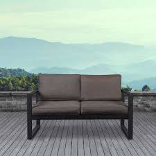 baltic black powder coated aluminum outdoor loveseat with dessert brown cushions