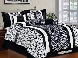 7 pc soft faux fur safari double striped zebra giraffe comforter set black white queen com