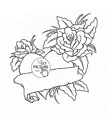 Small Picture Heart and Roses for Valentines Day coloring page for kids flower