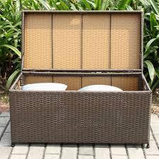 jeco espresso wicker patio storage deck box front view