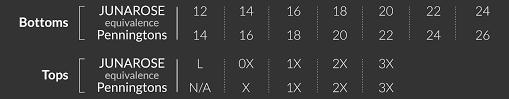 Junarose Size Chart