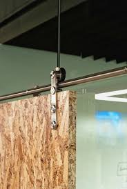 osb sliding door to frame in work space laundry architects sliding door office