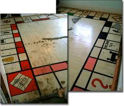 fresno ca homeowner discovers zany life size monopoly board game painted on hardwood floors beneath carpeting