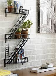 wrought iron bathroom shelf. Furniture. Zigazag Black Wrought Iron Shelf Floating On Grey Brick Stone Bathroom Wall. Awesome U