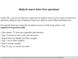 Dialysis Nurse Resume Samples Dialysis Nurse Interview Questions