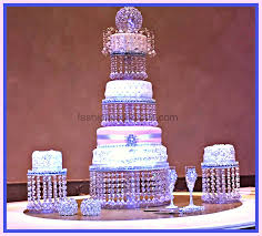 cool crystal cake stand wedding triple tier and 2 side ones