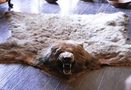 fake bear skin rug with head